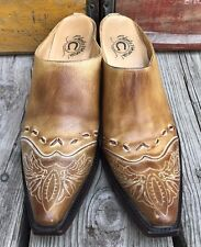 CHARLIE 1 HORSE Lucchese Cowgirl Distressed Western Slides Mules Women's 8.5B