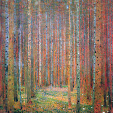 Gustav Klimt Tannenwald Colorful Pine Forest Painting Real Canvas Art Print