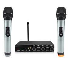 Bluetooth Wireless Dual Channel Handheld Karaoke VHF Microphone Receiver System