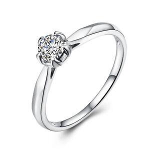 Wedding 18K White Gold Generous Ring Round 4.5mm 0.21ct Graded Cubic Zirconia