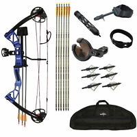 SAS Rex 55Lb Hunting Compound Bow Package w/ Bow Sight, Arrow Rest, Quiver, Bag