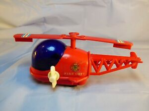 Vintage Retro Hong Kong Made Red Fire Department Plastic Helicopter Wind Up Toy