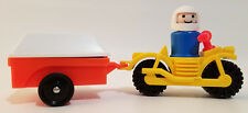 VINTAGE LITTLE PEOPLE #634 MOTORCYCLE, RIDER, TRAILER, RAMPS & LID *EXT. RARE!!*