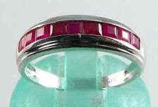 CLASS 9K 9CT WHITE GOLD INDIAN RUBY CHANNEL SET ETERNITY ART DECO INS RING