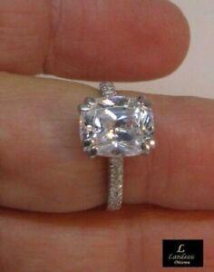 3.8 ct White Diamond Cushion Cut Wedding Ring