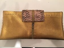 VBH Clutch Gold Metallic Leather With Python Trim Removable Suede Lining Handbag