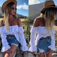 Womens Off Shoulder Long Sleeve Blouse Summer Plain Ruffle Casual T-Shirt Tops