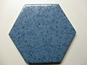 "Mannington USA Hexagon 4-3/8"" Crystalline 328 Marine Blue Ceramic Tile 1 Vintage"