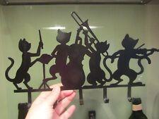 Pre-owned/unused Black 5 Hook Wall Mounted Keys Hanger/Rack - Musical Cats - Fab