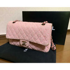 CHANEL CC Logos Matrasse W Double Flap Chain Shoulder Bag Tweed Rose Pink Used