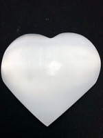 "3.5"" White Selenite Heart Crystal Quartz Natural Stone Hearling"