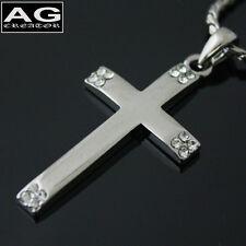 "Dark cross cubic pendant 19"" chain necklace US SELLER"