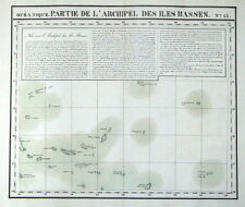 BASS ISLANDS, FRENCH POLYNESIA, PACIFIC OCEAN, VANDERMAELEN  antique map 1827