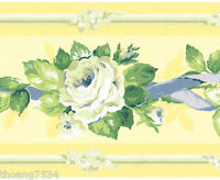 Yellow Blue Ribbon Rose Flower Floral Garland Wall paper Border