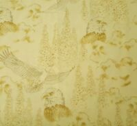"""1 yd 14"""" Majestic Eagles Hautman Brother Quilting Treasures Bald Eagle Toile Tan"""
