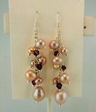 Purple Rain mauve freshwater pearl and crystal dangle drop earrings