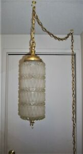 VINTAGE, MID CENTURY, CLEAR/FROSTED CUT GLASS HANGING SWAG LAMP, RETRO,HOLLYWOOD