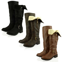 Womens Ladies Leather Fur Lined Knee High Biker Riding Low Heel Boots Shoes Size