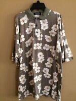 Aureus Mens Polo Shirt Size Large Green Hawaiian Tropical Floral Short Sleeves