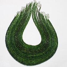 NATURAL CHROME DIOPSIDE SMOOTH RONDELLE BEADS NECKLACES OBI4014