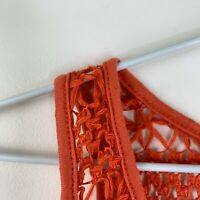 Coral Mesh Tank Top Size Small Red Lace Crochet