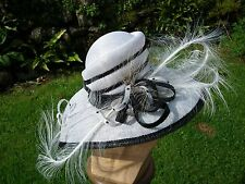 Designer Nigel Rayment Millinery White and Black Formal Occasion Hat BNWT