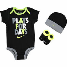 NIKE Baby Boy / Girl 3-pc Black Outfit Gift Set 'Plays For Days' 6-12 months
