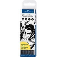 #167132 Faber Castell 4 Width Manga Black Pitt Artist Pens India Ink Sketch Draw