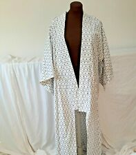 "Long Cotton KImono Blue Black Print on White Unlined 60"" L"