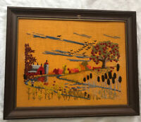 Crewel Embroidery Floral Farm Art Wall Hanging Nature Framed Vintage