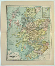 Scotland - Original 1885 Map by Phillips & Hunt. Antique