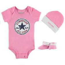 *New* Converse Baby Girl Bodysuit Beanie Booties 0-6 Months Romper Hat Sock Set