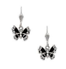 ANNE KOPLIK Black Enamel & Clear Swarovski Butterfly Silver Dangle Earrings