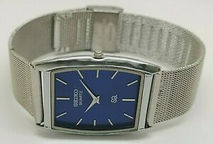 seiko quartz super slim men steel blue dial excellent wrist watch run order