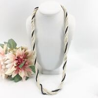 "Vintage Multi Strand Faux Pearl Beaded white & Black Long Necklace 32"" Estate"