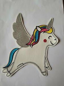 Unicorn Iron Patch Motif Large Cute Glitter Wings Girls Dress Ups 16cm x  18cm