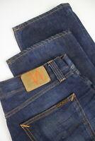 NUDIE JEANS EASY EMIL FLAT INDIGO EMBO Men's W34/L34 Straight Jeans 2342_mm