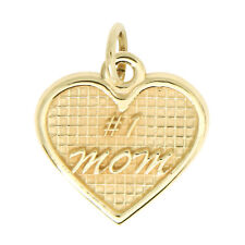 14Kt Yellow Gold Polished Textured #1 Mom Heart Charm Pendant