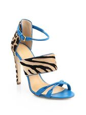 SERGIO ROSSI ANIMAL PRINT PONY HAIR LEATHER 'DONYALE' SANDALS 37
