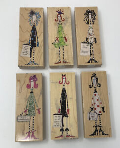 Lot Of 6 Stamps Happen Dolly Mama's Rubber Stamps Drama Queen Shoe Shopper Etc