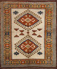 Vintage Geometric Anatolian Turkish Area Rug Hand-knotted Wool Carpet 5x5 Square