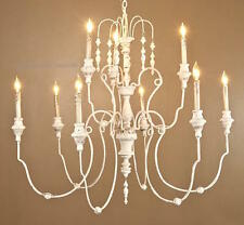 New Rustic French Dining Chandelier Tuscan Iron & Wood Shabby Chic Foyer 9-Light