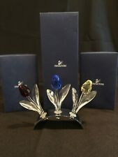 Swarovski Crystal 3 Long Stem Tulips With Mirror Stand Mint In Box