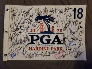 Hideki Matsuyama  Rory McIlroy pga Flag signed   Autographed 2021 Viktor Hovland