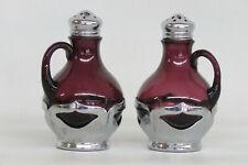 Farber Bros Krome Kraft Chrome and Purple Glass Salt and Pepper Shakers 1940B