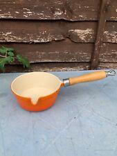 Vintage Cast Iron Orange Enamel  Saucepan