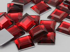15mm Red Ruby H103 Flat Back Square Acrylic Gems - 30 Pieces