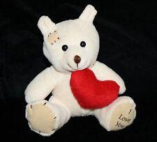"Oriental Trading I Love You TEDDY BEAR 5"" Cream Plush Red Heart 32/1600 Soft Toy"