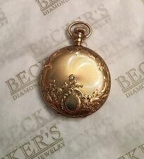 Waltham 14k small Full Hunter Engraved Pocket Watch Ser# 1393144 1902 Runs Stops