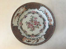 Antique Chinese Export Qing Dynasty Porcelain Plate w/ Roses & Birds Decoration